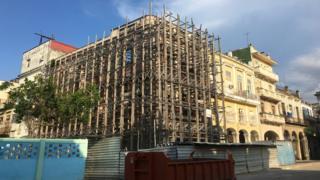 sports A scaffolding surrounds a building near Plaza de Cristo