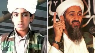 Hamza Bin Laden en un video de 2015 y Osama Bin Laden en uno de principios de siglo.