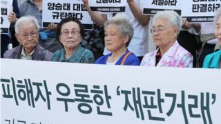 일제시대 강제징용 피해자와 시민단체 회원들