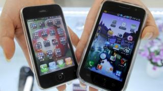 Apple and Samsung smartphones