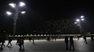 A view of the National Stadium (Bird's Nest) during Earth Hour in Beijing, China, 24 March 2018