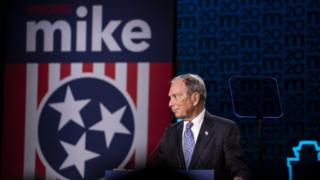 Mr Bloomberg responds to a heckler at a Wednesday rally in Nashville, Tennessee