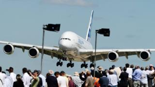 The Airbus A380 landing at Farnborough Airport in 2014
