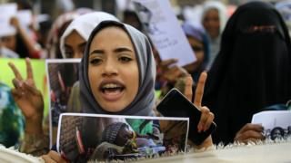 A Sudanese woman demonstrating in Khartoum on 30 May