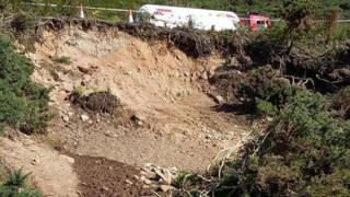 Landslip below A9 near Helmsdale