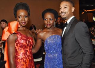 Danai Gurira, Lupita Nyong'o and Chadwick Boseman attend the Golden Globe Awards in Los Angeless, the US - Sunday 6 January 2019