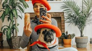Maitri Mody matching with her pug