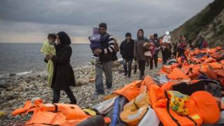 Migrants on the island of Lesbos, in Greece
