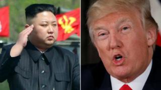 Kim Jong-un e Donald Trump (composição)