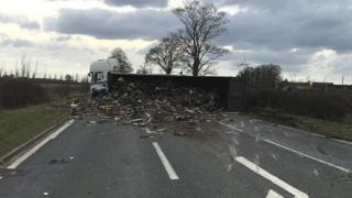 Crashed scrap lorry