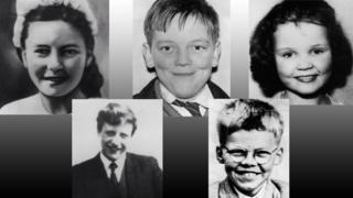 clockwise from top left: Pauline Reade, John Kilbride, Lesley Ann Downey, Keith Bennett, Edward Evans
