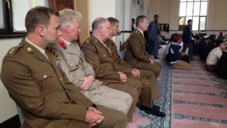 Army officers at Central Mosque in Leicester