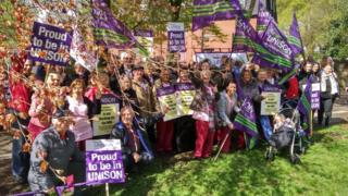 UNISON members holding a lobby outside the Trust board meeting at the Royal Albert Edward Infirmary site in Wigan on 25 April