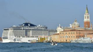 An MSC Cruises ship in the Italian city of Venice