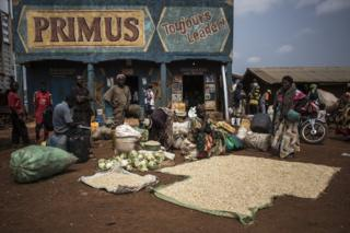 A market along the road between Beni and Mangina in Democratic Republic of Congo