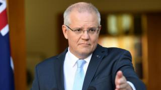 Australian PM Scott Morrison pictured announcing the election