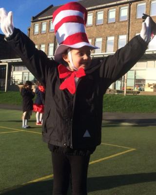 Katie dressed up as Dr Seuss' The Cat in the Hat