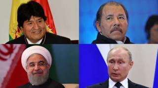 Evo Morales, Daniel Ortega, Hassan Rouhani, Vladimir Putin