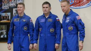 Tim Peake, Yuri Malachenko and Tim Kopra