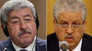 former Algerian Prime Ministers Ahmed Ouyahia (L) and Abdelmalek Sellal
