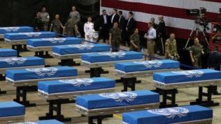 Militer AS melakukan upacara pemulangan kembali di markas udara Osan, Korea Selatan.