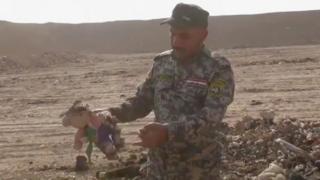 Bir əsqər, İraqın Mosul şəhərinin cənubunda yerləşən Hamam əl-Alil şəhərində aşkarlanmış kütləvi məzarlıqdan tapdığı uşaq oyuncağını əlində tutub (7 Noyabr 2016)