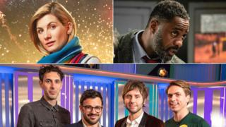 Clockwise from top left: Jodie Whittaker as The Doctor, Idris Elba in Luther, the cast of The Inbetweeners