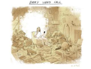 A cartoon of a woman on a video call surrounded by an untidy room