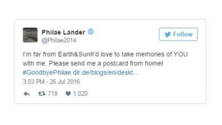Tweet from @Philae2014: I'm far from Earth&Sun! I'd love to take memories of YOU with me. Please send me a postcard from home! #GoodbyePhilae
