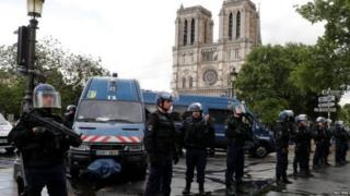 The area around the cathedral has been condoned off by police