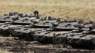 Israeli tanks on occupied Golan Heights (May 2018)