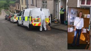 Forensic officers at the scene in Lewis Street with inset photo of Denise Rosser