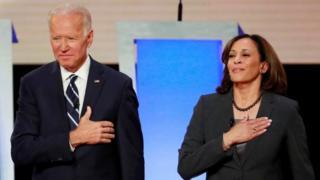 Joe Biden and Kamala Harris take the stage before the start of the second night of the second US 2020 presidential Democratic candidates debate in Detroit, Michigan, U.S., July 31, 2019.