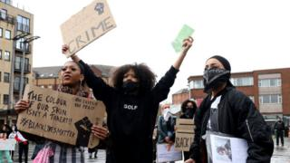 Protesters at the anti-racism demonstration in Belfast on Saturday