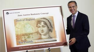 Mark Carney with an early design for the new £10 note