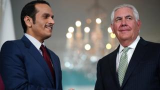 Katar Dışişleri Bakanı Şeyh Muhammed bin Abdurrahman es-Sani, Washington'da ABD Dışişleri Bakanı Rex Tillerson ile görüştü.