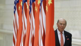 Commerce Secretary Wilbur Ross arrives at a state dinner at the Great Hall of the People on November 9, 2017 in Beijing, China