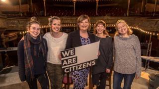 Sinead Sharkey, Scarlett Mack, Fiona Hyslop, Lucianne McEvoy and Deirdre Davis on stage at the Citizens Theatre