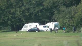 The caravan site in Priddy