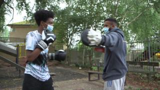 boy doing boxing training