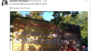 """""""This lorry is going around ULB - makes you vomit"""" - tweeted Prof Corinne Torrekens"""