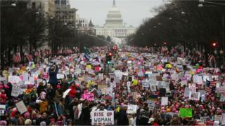 The original, unaltered photo of the 2017 Women's March in Washington.