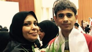 File photo of Hajar Mansoor Hassan and her son Sayed Nizar Alwadaei