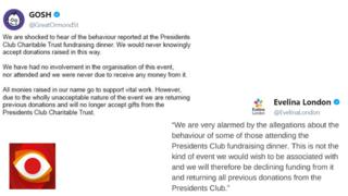 Tweets from Great Ormond Street Hospital and Evelina London saying they would be returning donations from The Presidents Club.