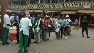Des militants du Front Social démocrate (SDF), lors de l'investiture de M. Osih à Bamenda.