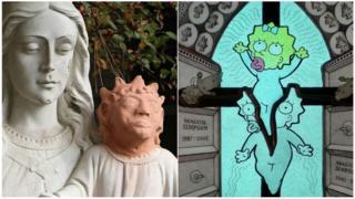 estátua em Saint Anne des Pins e Maggie Simpson