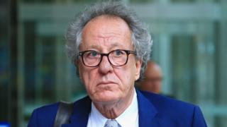 Geoffrey Rush attending court in Sydney in October 2018