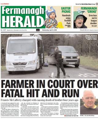 front page of the Fermanagh Herald, Wednesday 4 April 2018