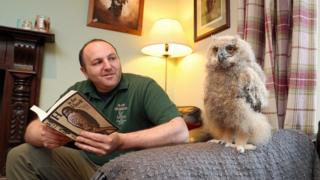 Dave Warren with owl