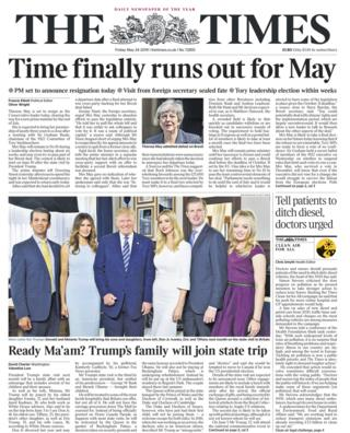 Times front page - 24/05/19